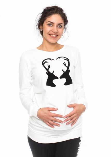 Be MaaMaa Těhotenské triko, mikina Renifer - bílé, vel. M