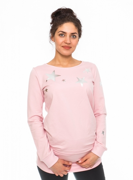 Be MaaMaa Těhotenské triko, mikina Star - sv. růžové, vel. M