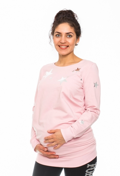 Be MaaMaa Těhotenské triko, mikina Star - sv. růžové, vel. L