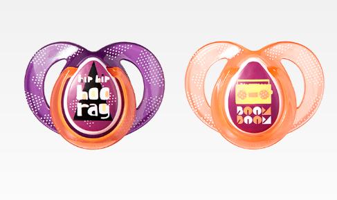 Dudlík Any Time 6-18 m  - fialová/oranžová