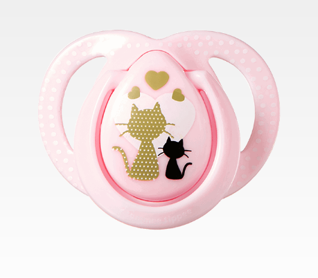 Dudlík Moda Girl Kočky 0-6 m  - růžová