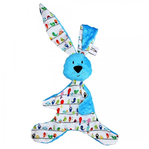 Mazlík králiček s minky a bambusem Kic kic, 35x65cm - modrý