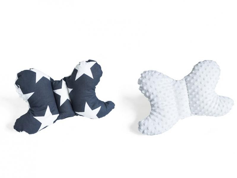 Baby Nellys Oboustanný polštářek Motýlek - hvězdy, minky bílá