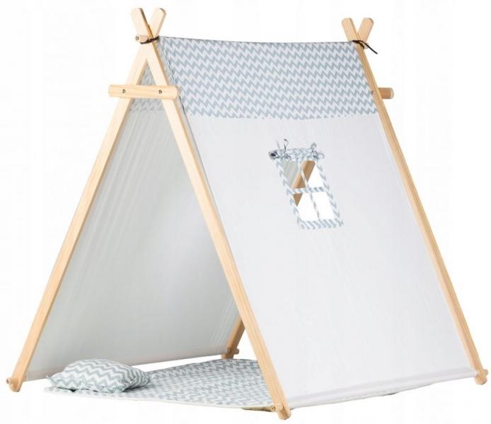 Eco toys Stan pro děti teepee, týpí s výbavou - šedý s zig zag