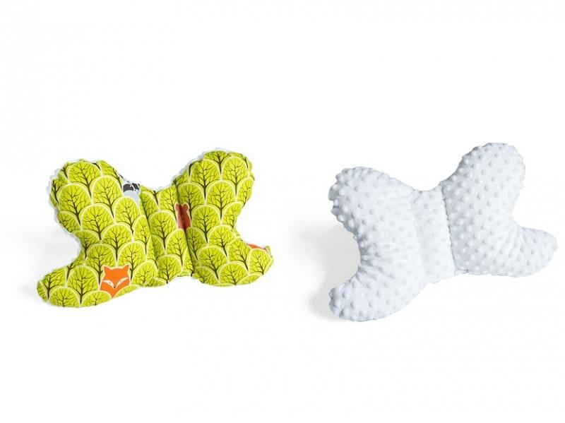 Oboustanný polštářek Motýlek - lesík zelený, minky bílá