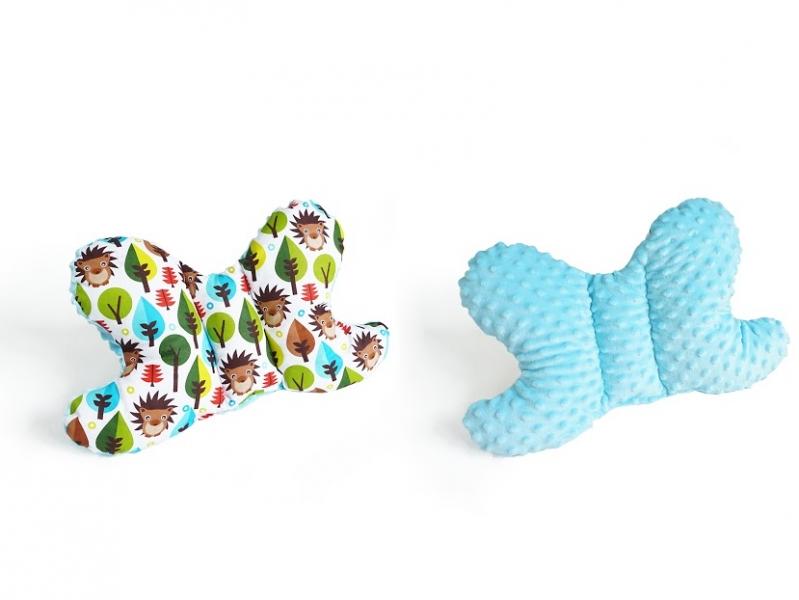 Oboustanný polštářek Motýlek - ježek, minky tyrkys
