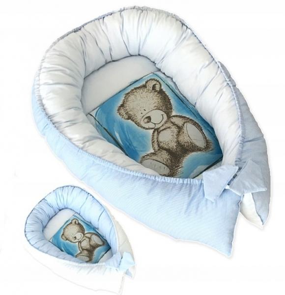 Oboustranné hnízdečko, kokon Teddy 80x45x15cm - modré