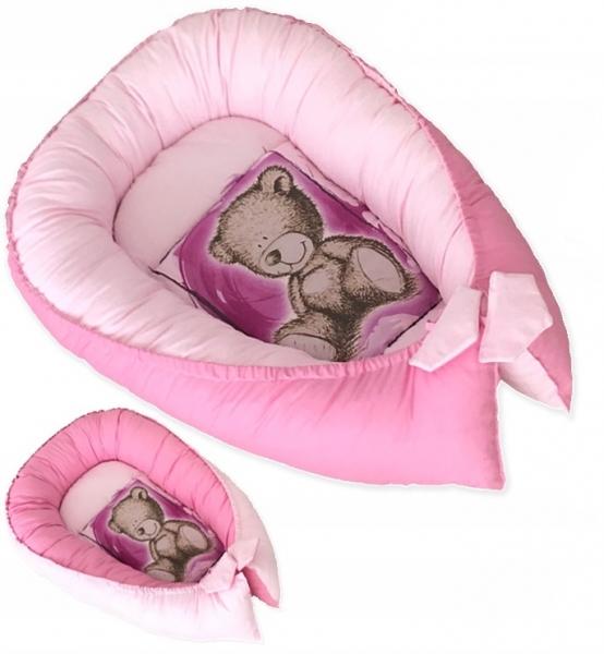 Oboustranné hnízdečko, kokon Teddy 80x45x15cm - růžové