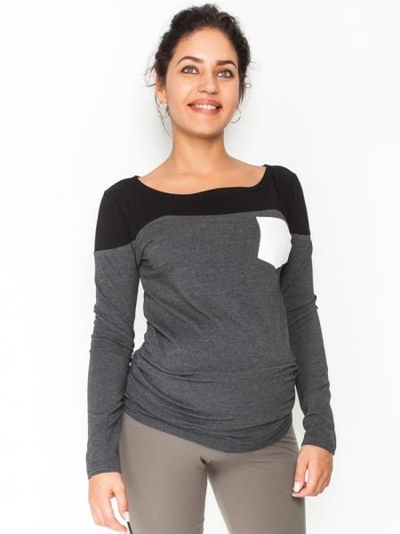 Be MaaMaa Těhotenské triko/halenka dlouhý rukáv Anna, vel. M - černé/grafit
