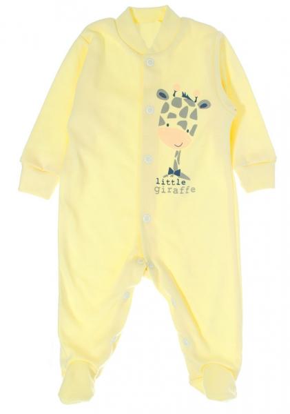 Bavlněný overálek Žirafka, vel. 62 - žlutý, Velikost: 62 (2-3m)