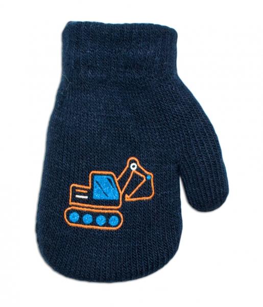Klučičí akrylové rukavičky, oteplené YO - se šňůrkou, granátové, vel. 13-14 cm