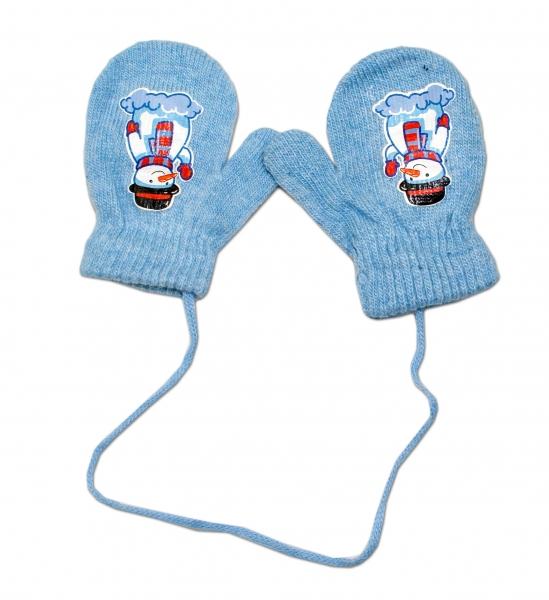Zimní kojenecké  rukavičky vlněné  - se šňůrkou a potiskem YO - sv. modré, vel. 13-14 cm
