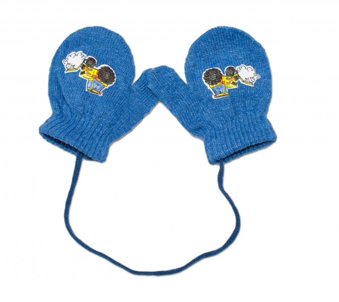 YO !  Zimní kojenecké  rukavičky vlněné  - se šňůrkou a potiskem YO - jeans, vel. 12 cm