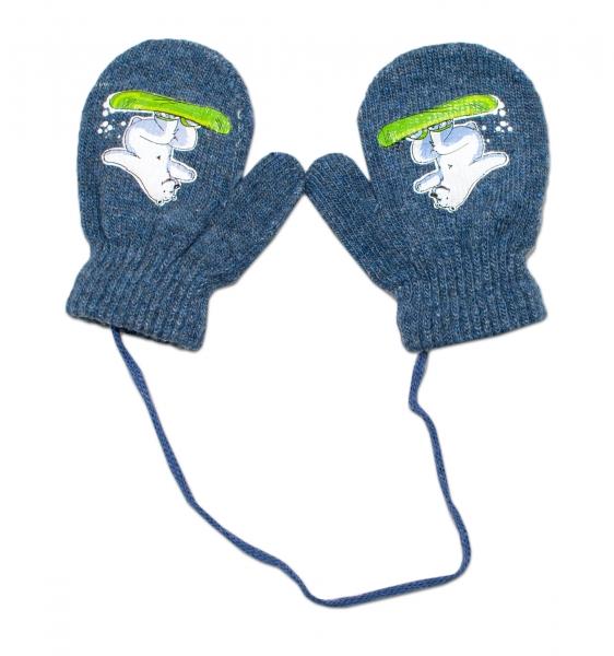Zimní kojenecké  rukavičky vlněné  - se šňůrkou a potiskem YO - grafit, vel. 12 cm