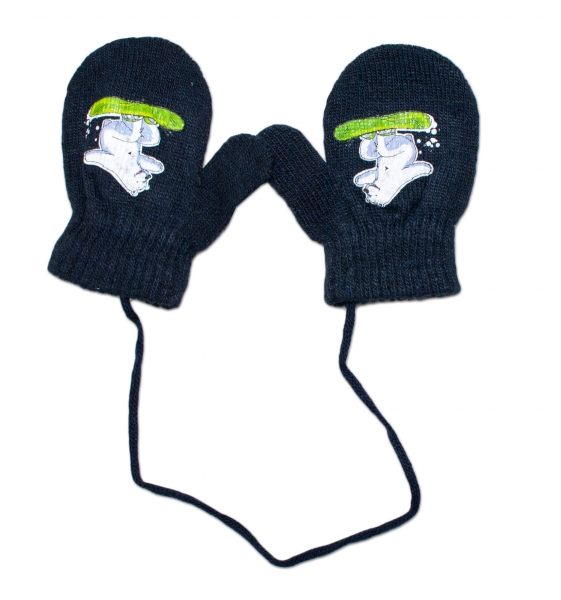 Zimní kojenecké  rukavičky vlněné  - se šňůrkou a potiskem YO - granátové