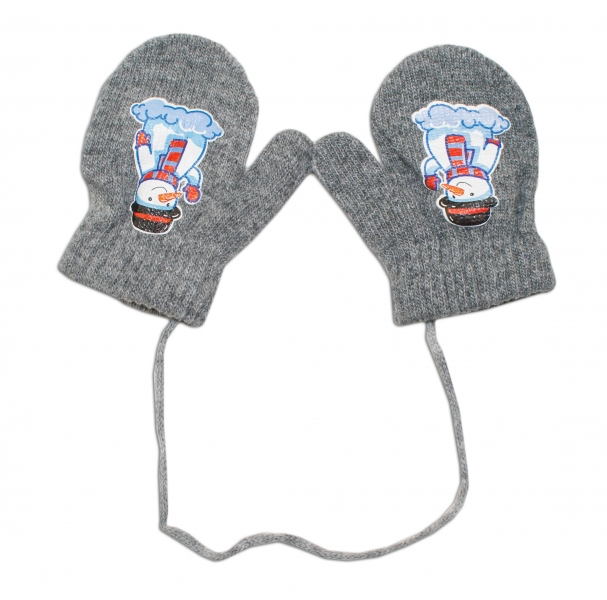 Zimní kojenecké  rukavičky vlněné  - se šňůrkou a potiskem YO - šedé