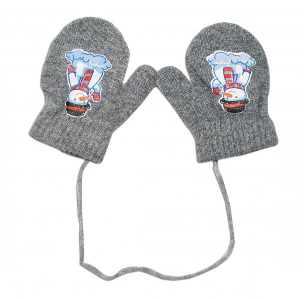 Zimní kojenecké  rukavičky vlněné  - se šňůrkou a potiskem YO - šedé, vel. 12 cm