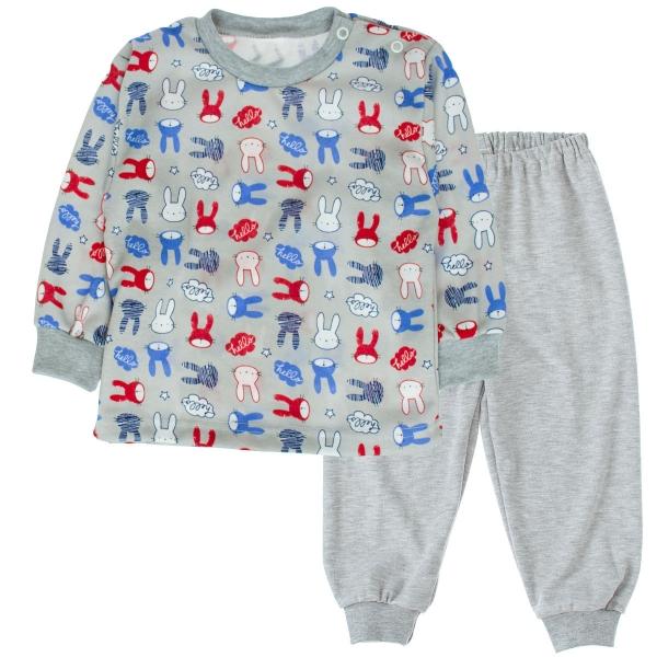 Bavlněné pyžamko Králičci - šedé, Velikost: 80 (9-12m)
