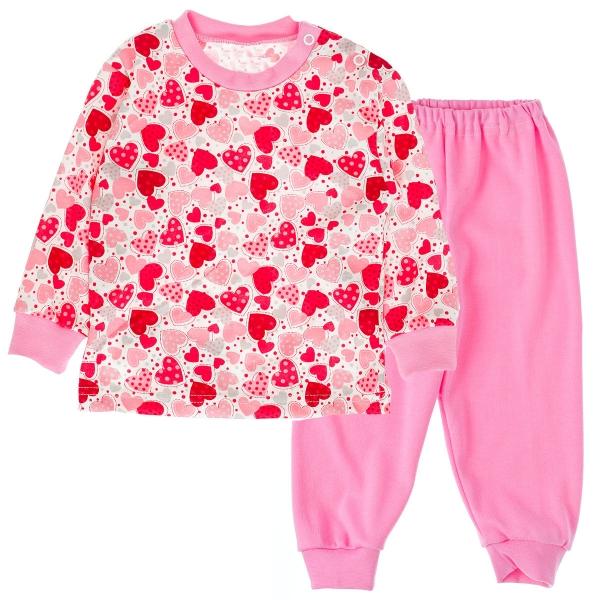 Bavlněné pyžamko Srdíčka - růžové, Velikost: 80 (9-12m)