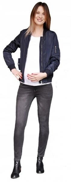 Těhotenské kalhoty JEANS s pružným pásem Angie - Černé, vel. L