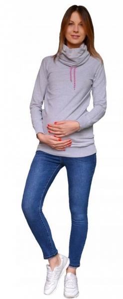 Těhotenské kalhoty JEANS s pružným pásem Marika -  Modré