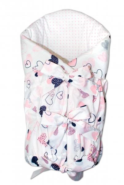 BABY NELLYS Klasická šněrovací zavinovačka 75x75cm - Srdíčka  růžové, bílé