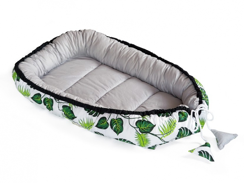 Baby Nellys Oboustranné hnízdečko, kokon 60x90cm - Listy, šedá/bílá