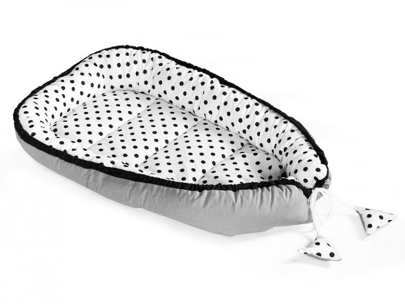 Baby Nellys Oboustranné hnízdečko, kokon 60x90cm - Tečky, šedá/bílá/černá