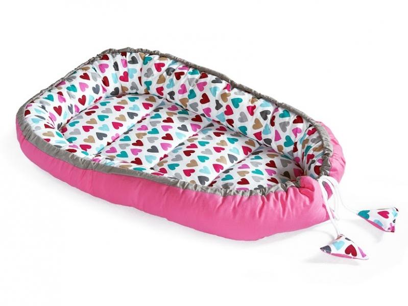 Baby Nellys Oboustranné hnízdečko, kokon 60x90cm - Srdíčka, růžová/bílá
