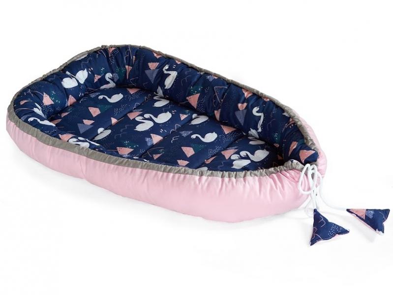 Baby Nellys Oboustranné hnízdečko, kokon 60x90cm - Labutě, modrá/růžová