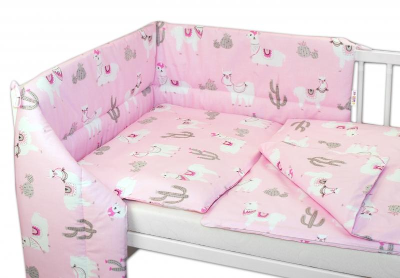 Baby Nellys 3-dílná sada mantinel s povlečením 135x100cm, Lama - růžová