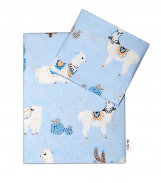 Baby Nellys 2-dílné bavlněné povlečení Lama - modré