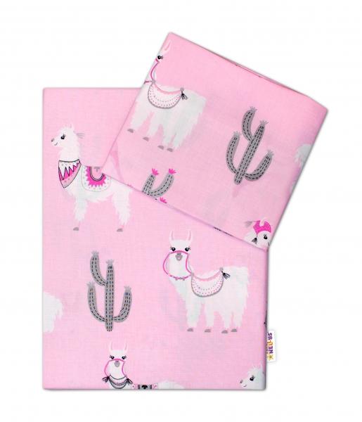 Baby Nellys 2-dílné bavlněné povlečení Lama - růžové