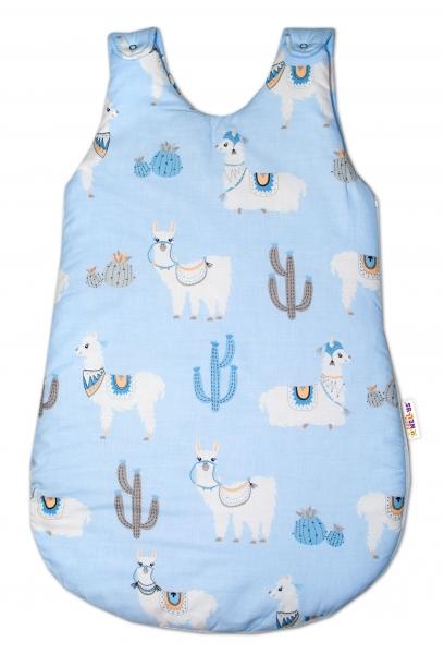 Baby Nellys Bavlněný spací vak Lama - modrý