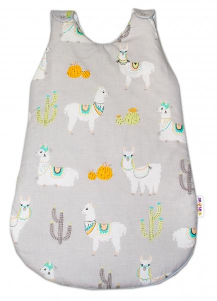 Baby Nellys Bavlněný spací vak Lama - šedý