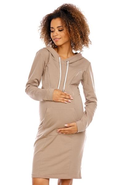 Be MaaMaa Těhotenské a kojící šaty s kapucí, dl. rukáv - cappuccino, vel. XLvel. XL (42)