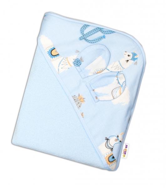 Baby Nellys Dětská termoosuška s oušky a kapucí Lama, 100 x 100 cm  - modrá