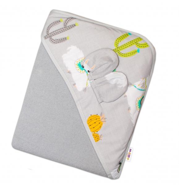 Baby Nellys Dětská termoosuška s oušky a kapucí Lama, 100 x 100 cm  - šedá