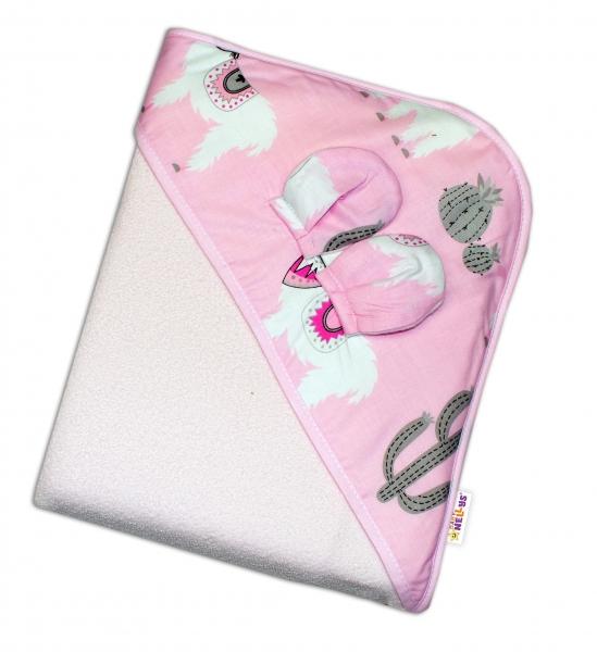 Baby Nellys Dětská termoosuška s oušky a kapucí Lama, 100 x 100 cm  - růžová