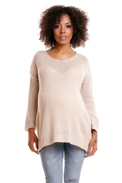 Be MaaMaa Pohodlný těhotenský svetřík s rozparky - béžový