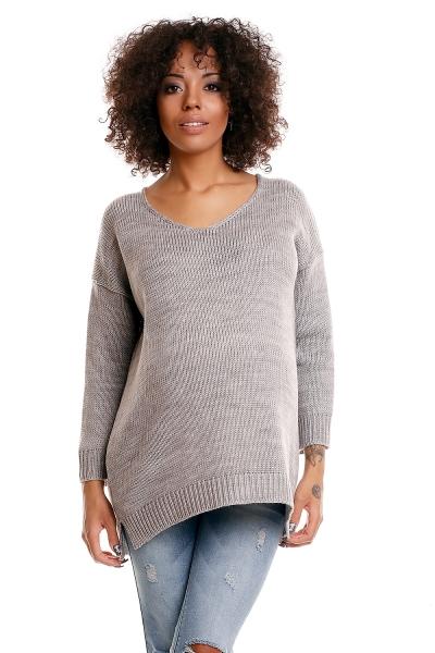 Be MaaMaa Pohodlný těhotenský svetřík s rozparky - sv. šedý