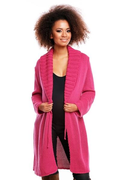 Delší těhotenský svetřík/kardigan s výrazným límcem - tm. růžová, Velikost: UNI