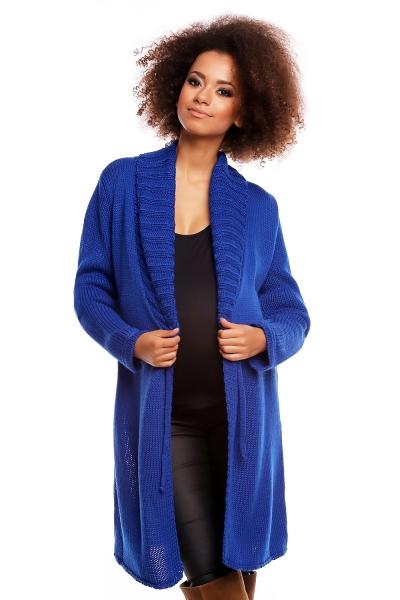 Delší těhotenský svetřík/kardigan s výrazným límcem - tm. modrý, Velikost: UNI
