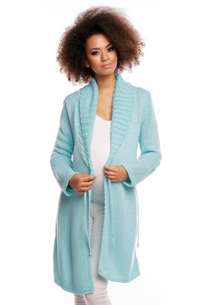 Be MaaMaa Delší těhotenský svetřík/kardigan s výrazným límcem - mátový