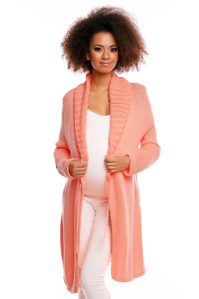 Be MaaMaa Delší těhotenský svetřík/kardigan s výrazným límcem - meruňková
