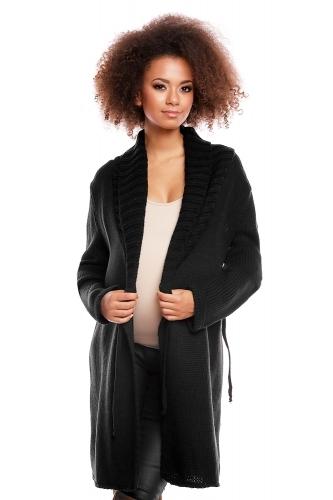 Delší těhotenský svetřík/kardigan s výrazným límcem - černý, Velikost: UNI