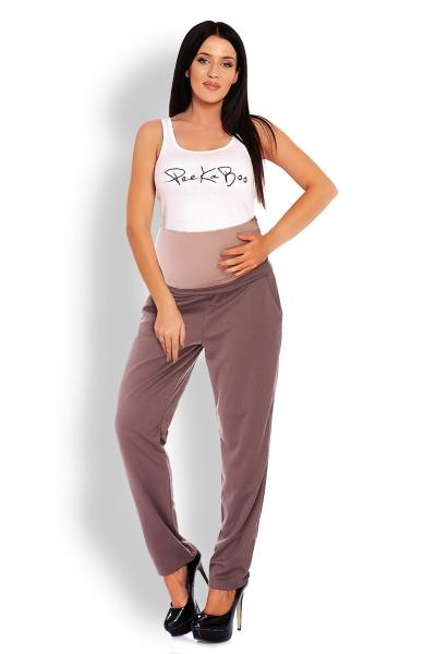 Be MaaMaa Těhotenské kalhoty/tepláky s vysokým pásem - cappuccino, vel. L/XL