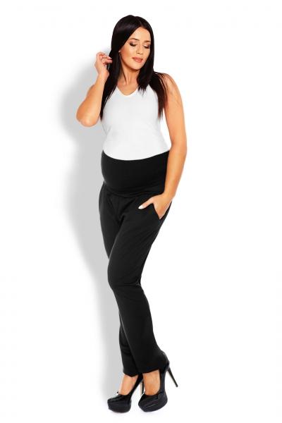 Be MaaMaa Těhotenské kalhoty/tepláky s vysokým pásem - černé, vel. L/XL