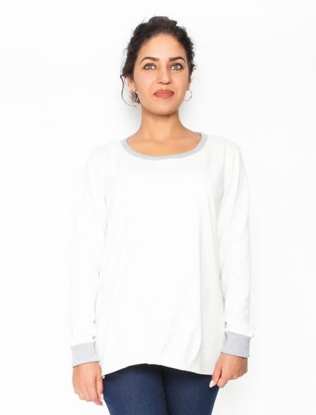 Be MaaMaa Těhotenské triko/mikina dlouhý rukáv Esti - bílé, vel. S, Velikost: S (36)