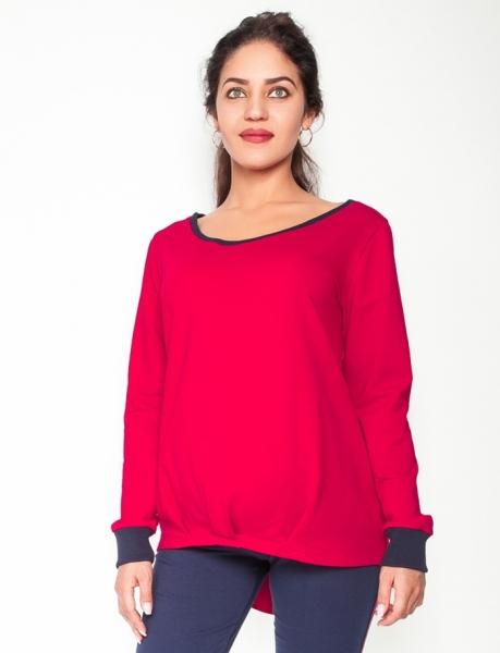Těhotenské triko/mikina dlouhý rukáv Esti - červené, vel. XL